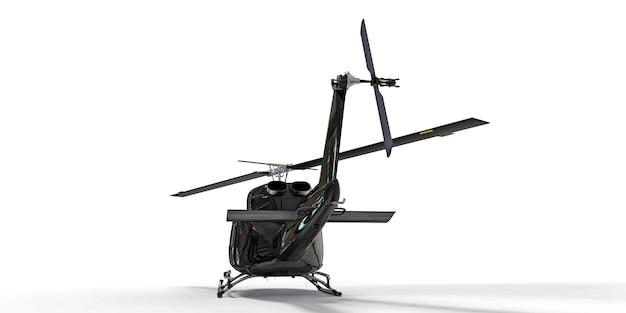 격리 된 흰색 배경에 검은색 작은 군사 수송 헬리콥터. 헬리콥터 구조 서비스. 에어택시. 경찰, 소방, 구급차 및 구조 서비스를 위한 헬리콥터. 3d 그림입니다.