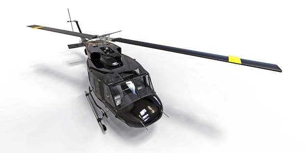Black small military transport helicopter on white isolated surface. the helicopter rescue service. air taxi. helicopter for police, fire, ambulance and rescue service