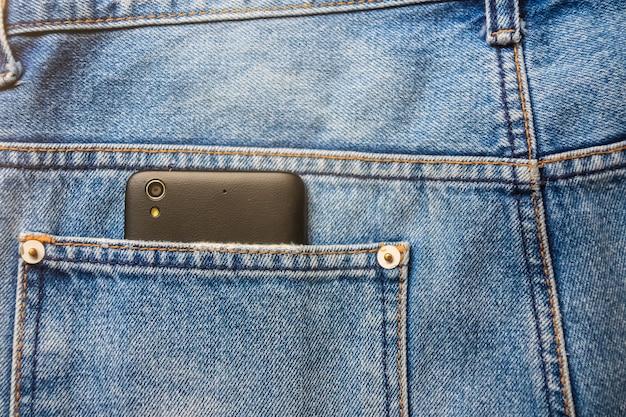 バックブルージーンズポケットデニムの黒のスマート携帯電話