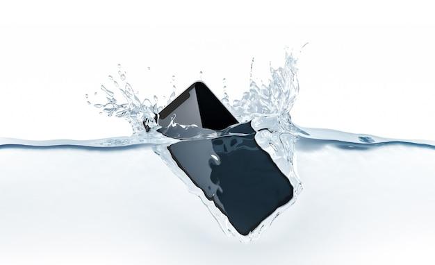 Черный смартфон макет падения в воду