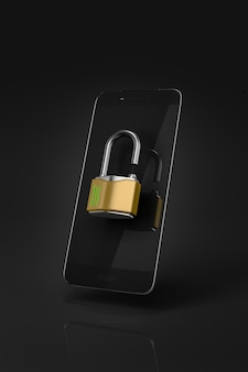 Black smartphone unlocked with a metal open padlock in front of the screen. black background. 3d ilustration