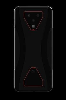 モバイルゲームやストリーミングのカメラの概念を持つ黒いスマートフォン