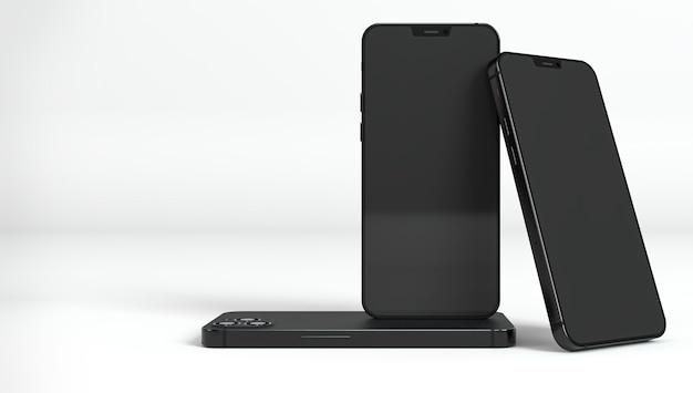 黒のスマートフォンの配置