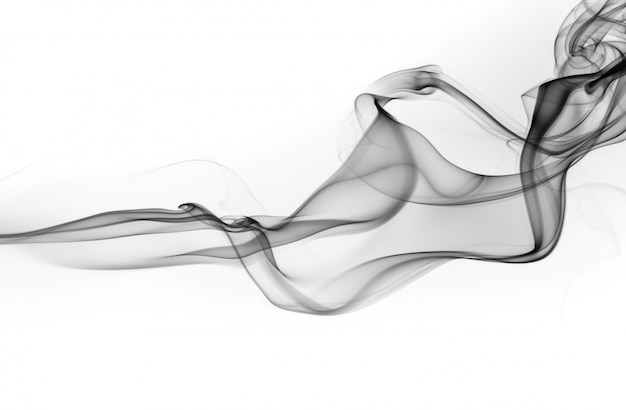 Black smoke abstract on white background, fire design