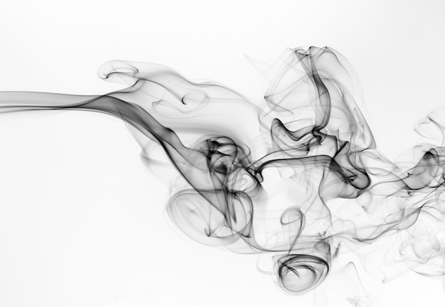 Black smoke abstract on white isolated, fire design