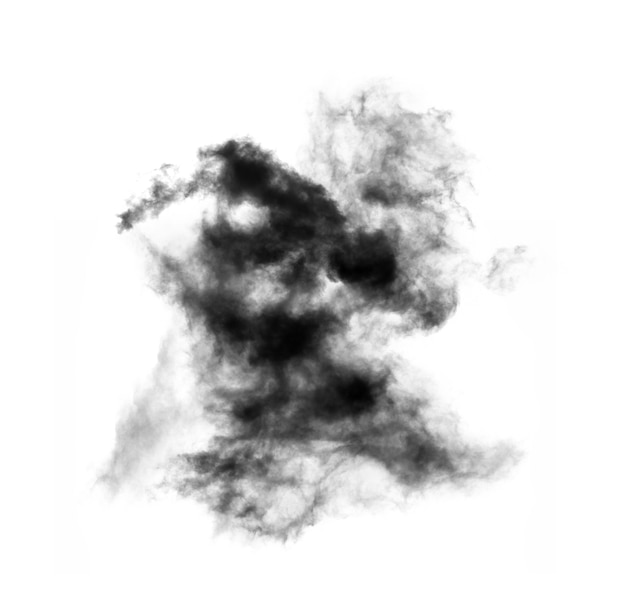 白い背景で隔離の黒い煙