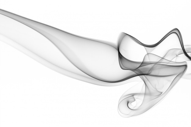 Black smoke on white background. abstract art, movement of smoke fire design