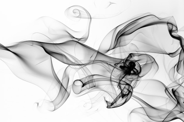 Black smoke on white background. fire design