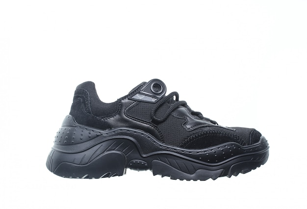 Black sneaker isolated. side view.