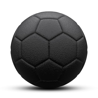 Black soccer ball with shadow. isolated on white. 3d render.