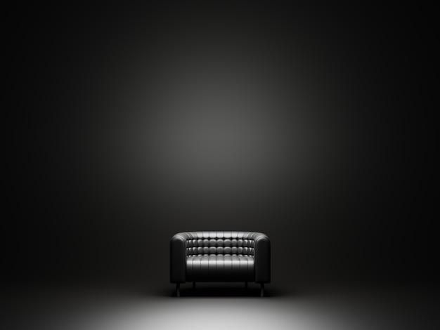 黒い広い部屋の黒いソファ。 3dレンダリング。