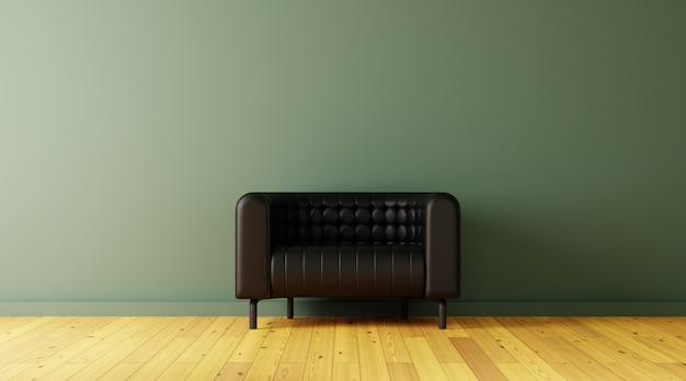 リビングルームの黒いソファには、緑の壁とフローリングの床があります。3dレンダリング。