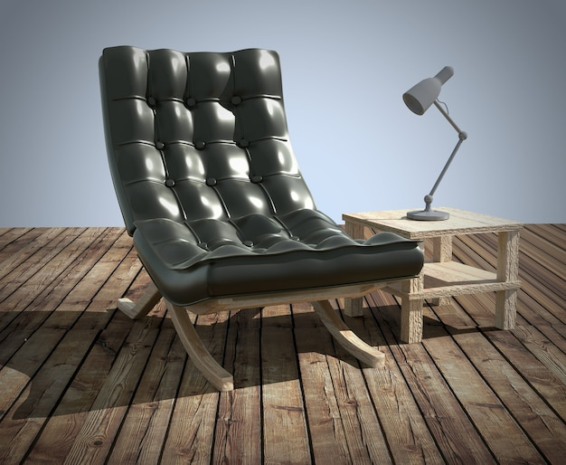 Black sofa and lamp on wooden table. 3drendering