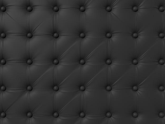 ボタン付きの黒いソファの室内装飾。パターンや背景の革の質感。