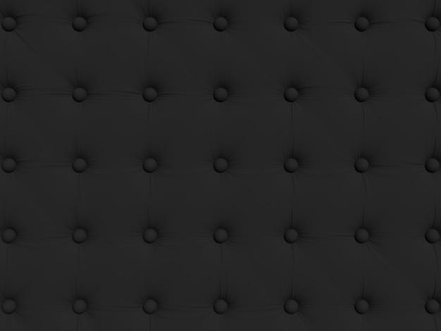 ボタン付きの黒いソファの室内装飾。パターンまたは背景のテクスチャ。 3dレンダリングのイラスト。