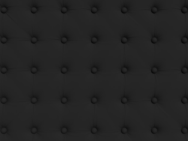 Black sofa upholstery with buttons. texture for patterns or backgrounds. 3d rendering illustration.