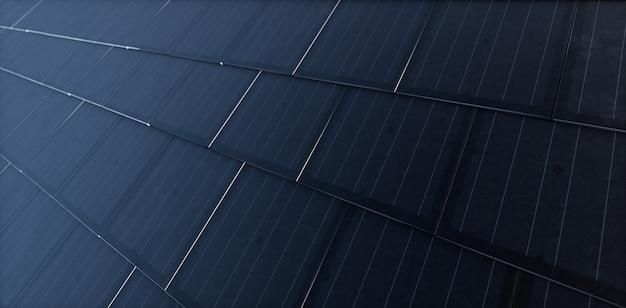 검은색 태양광 지붕 타일. 현대식 단결정 검은색 태양광 지붕 타일로 구성된 건물 통합형 태양광 발전 시스템. 3d 렌더링.