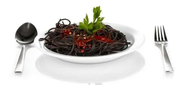 Black  spaghetti isolated on white