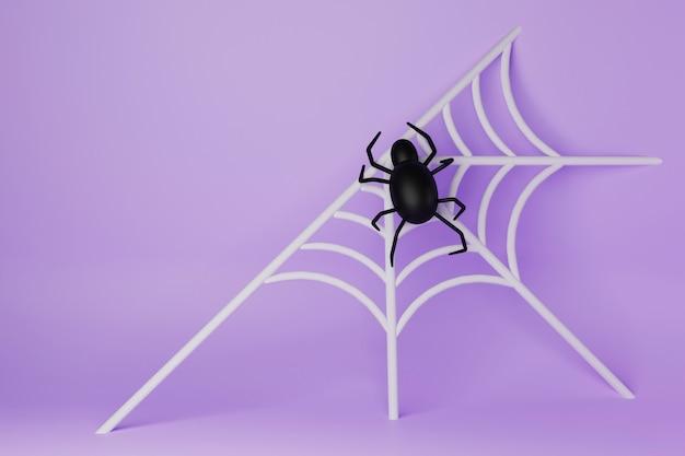Черный паук и вид сверху паутины для хэллоуина 3d визуализации