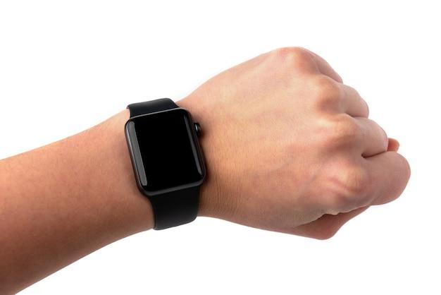 흰색 배경에 고립 된 검은 스포츠 smartwatch