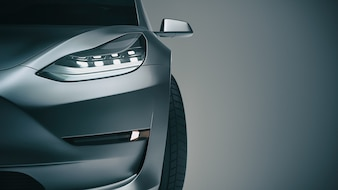 Black sports car. 3d rendering and illustration