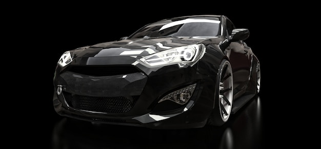 Black sports car coupe on a black background. 3d rendering.