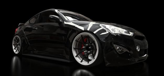 Черный спортивный автомобиль купе на черном фоне. 3d-рендеринг.
