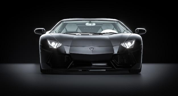 Черный спортивный автомобиль на фоне углеродного волокна. 3d визуализация.