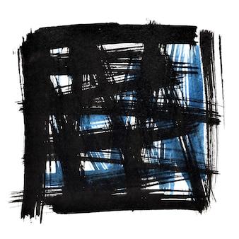 낙서 브러시 획이 있는 검은색 사각형 프레임