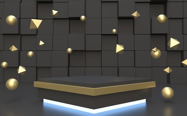 골드 플로팅 오브젝트가있는 제품 디스플레이 용 블랙 스퀘어 포디움