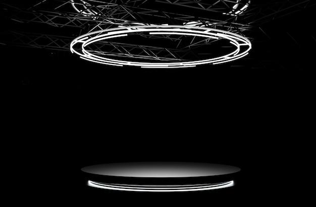 Black stage podium with lights. round pedestal, luminous empty platform on floor. 3d illustration
