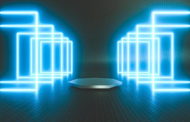 제품 스탠드와 네온 불빛이 있는 검은 무대 추상 미래 기술 배경
