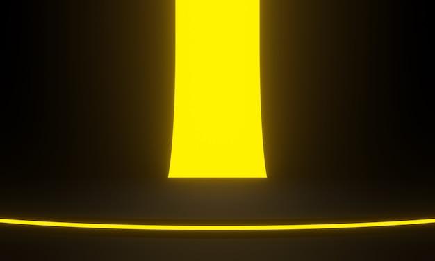 노란색 네온 불빛 3d 렌더링 검은 무대