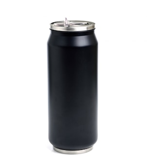 Black stainless steel tumbler isolated