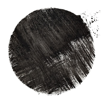 Black stenciled circle with strokes -- raster illustration