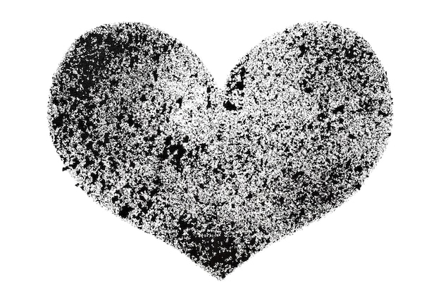 Black stenciled heart isolated on the white background - raster illustration
