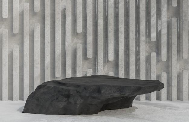 Черный каменный подиум для презентации продукта на фоне каменной стены в роскошном стиле 3d модель и иллюстрация.