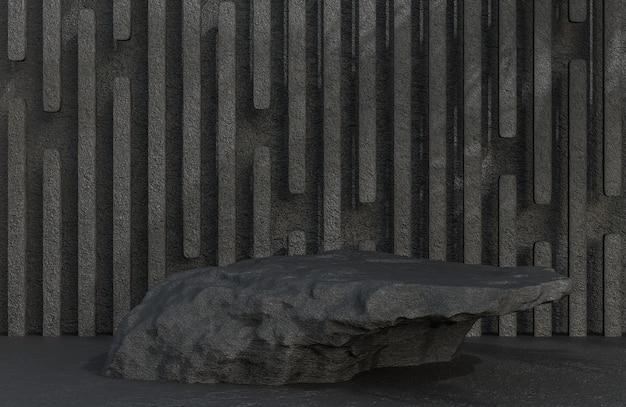 Черный каменный подиум для презентации продукта на фоне каменной стены в роскошном стиле., 3d модель и иллюстрация.