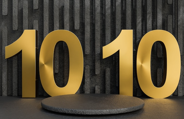 Black stone podium and golden text 10.10 for product presentation on stone wall background luxury style.,3d model and illustration.