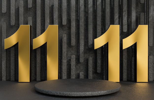 Black stone podium and golden text 11.11 for product presentation on stone wall background luxury style.,3d model and illustration.