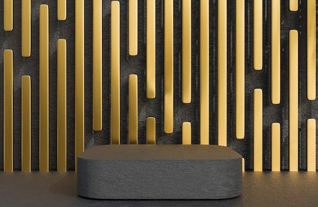 황금색 벽 배경의 고급 스타일, 3d 모델 및 일러스트레이션에 대한 제품 프레젠테이션을 위한 검은색 돌 사각형 연단입니다.
