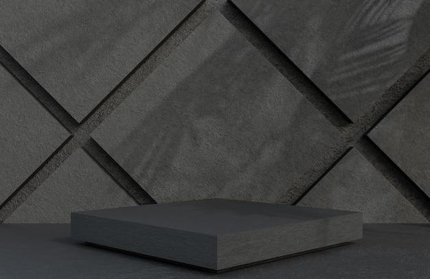 석재 벽 배경 고급 스타일, 3d 모델 및 일러스트레이션에 대한 제품 프레젠테이션을 위한 검은색 석재 사각형 연단입니다.