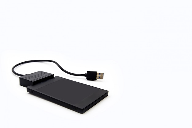 Black storage drive with usb cable