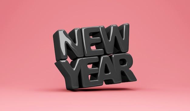 ピンクのスタジオの背景に黒スタイルの新年のシンボル