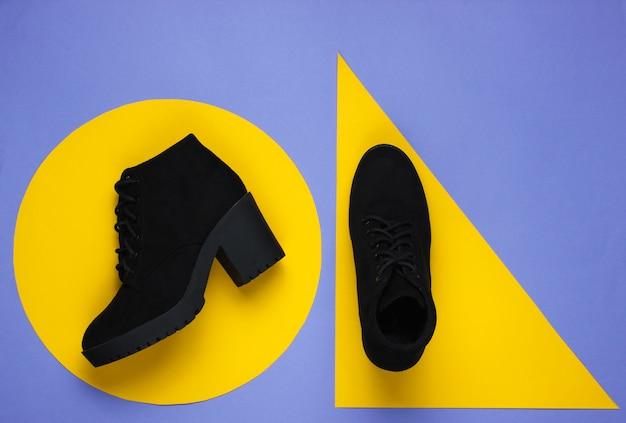 Черные замшевые сапоги на фиолетовой бумаге с желтыми геометрическими фигурами