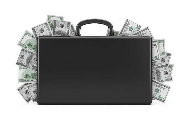 白い背景の上の百ドルでいっぱいの黒いスーツケース。 3dレンダリング
