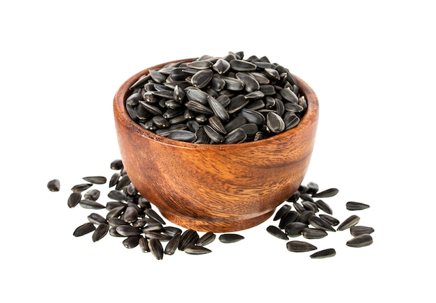 Black sunflower seeds isolated on white background