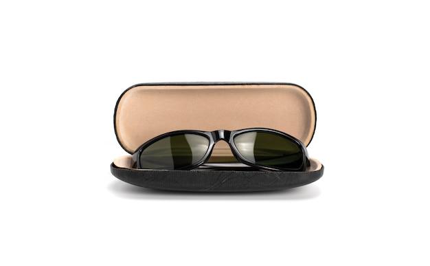 黒のサングラスと白い背景で隔離のブラックボックス