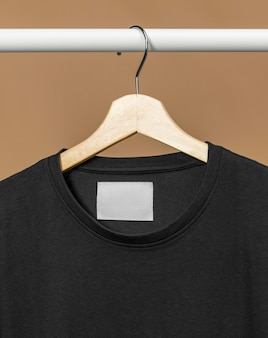 Black t-shirt with copy space clothes tag