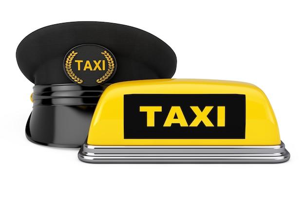 Черная кепка водителя такси с кокардой голдана и знаком такси возле желтой вывески на крыше такси на белом фоне. 3d рендеринг